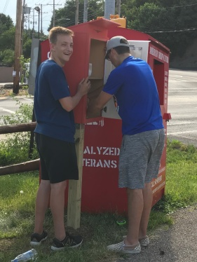 Ryan McIntyre and JT Mazula installing the pantry down by Scholls. Thank you Scholls!